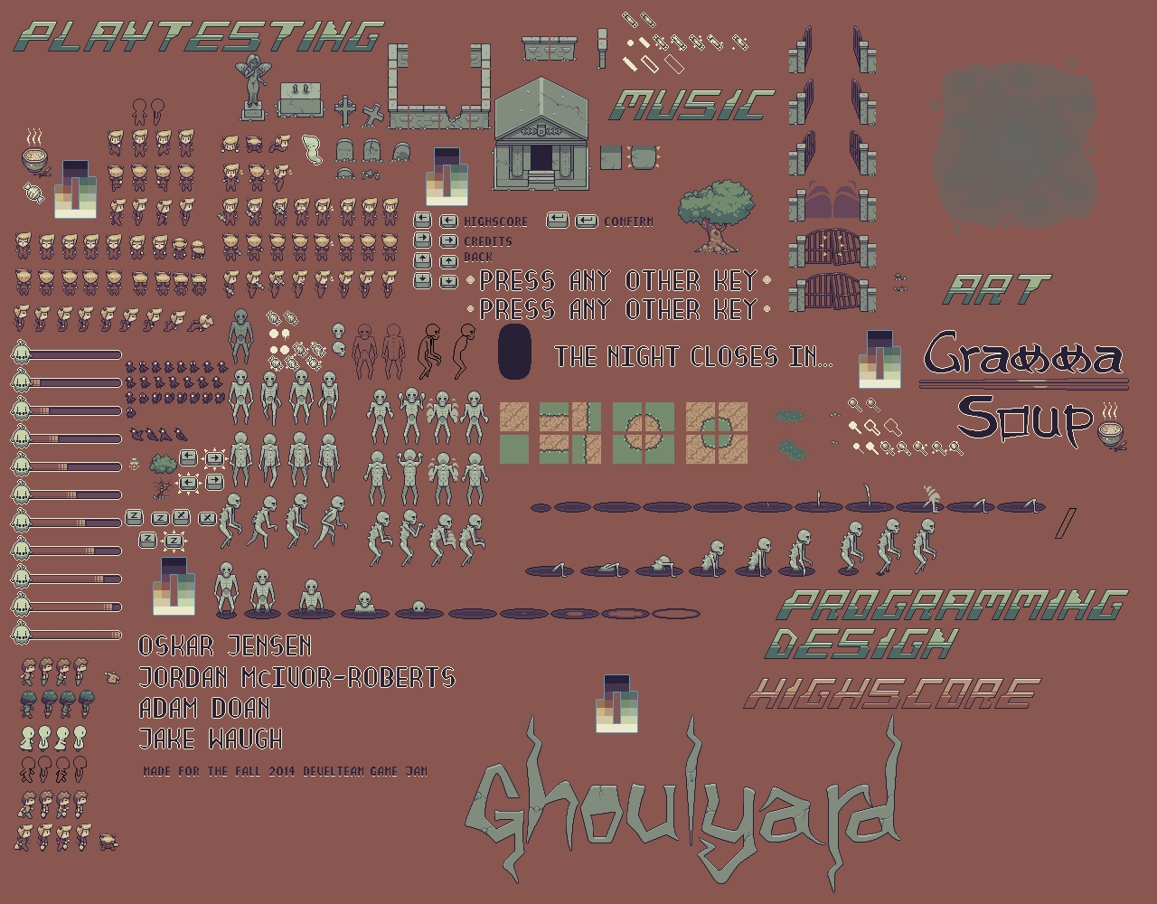Ghoulyard Sprite/Tile Sheet indie game developer collaboration find artist programmer musician