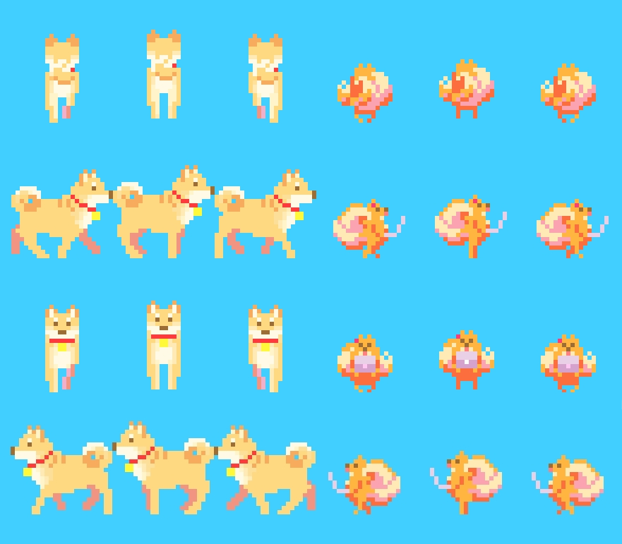 Pom and Shibe's sprites indie game developer collaboration find artist programmer musician